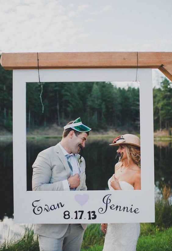 add a Polaroid-styled frame for your wedding booth, it will give a fun touch to it