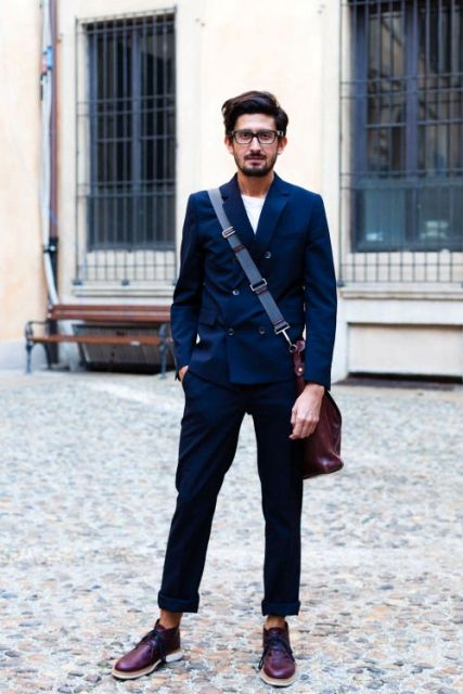With white t-shirt, navy blue jacket, marsala bag and marsala shoes