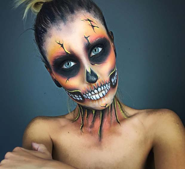 Orange Tone Skeleton Makeup for Skeleton Makeup Ideas for Halloween