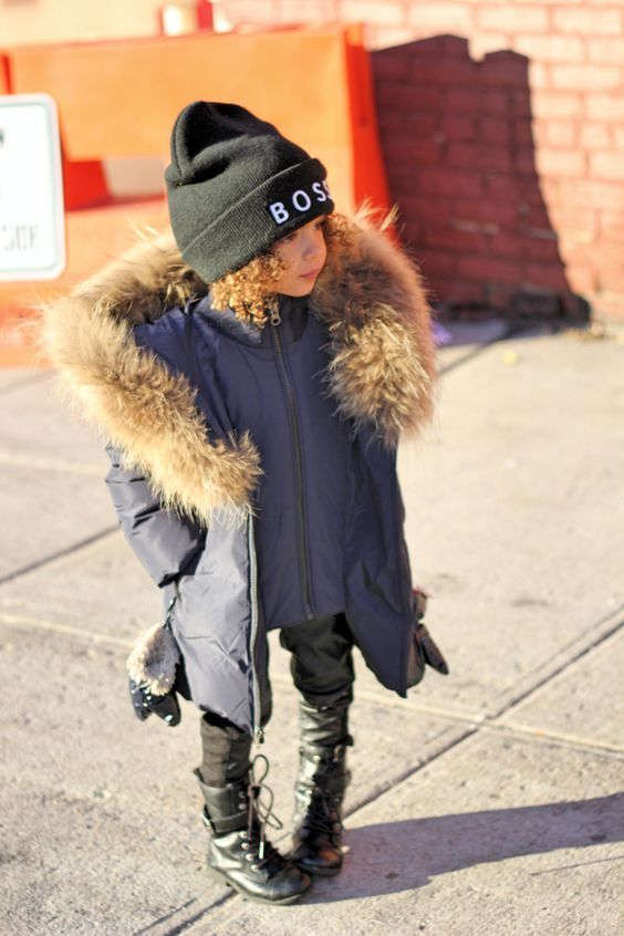 a graphite grey parka with faux fur and a printed beanie for a comfy winter look