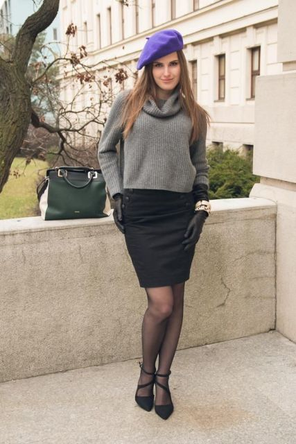 With crop sweater, pencil skirt, purple beret and pumps