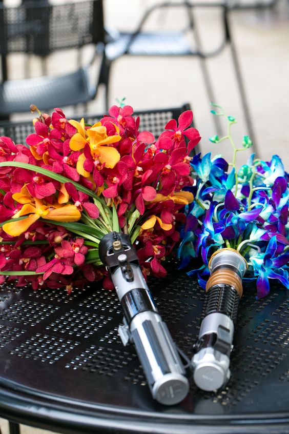lightsaber bouquet handles for a Star Wars themed wedding