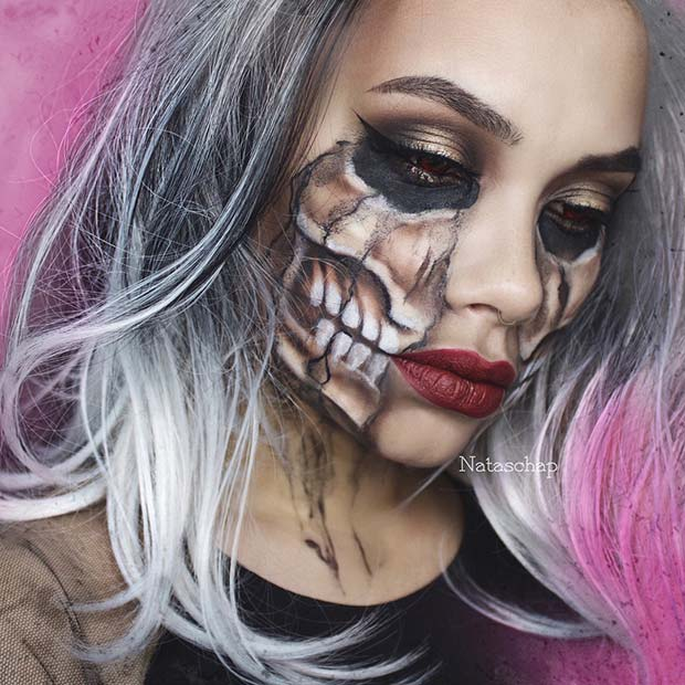 Part Skeleton Makeup for Skeleton Makeup Ideas for Halloween