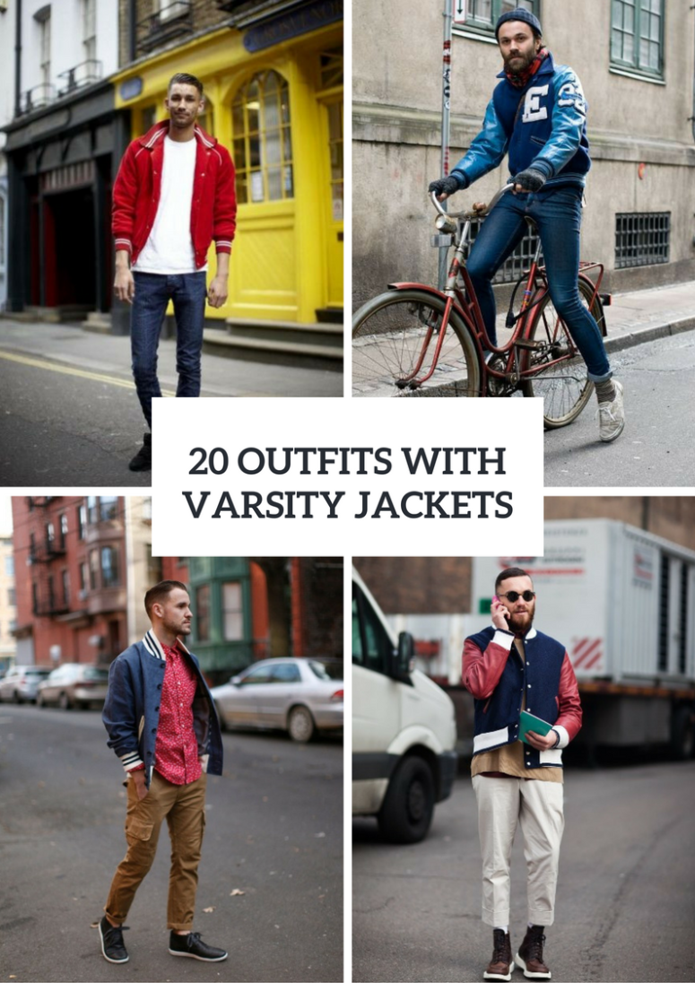 Fall Men Outfits With Varsity Jackets