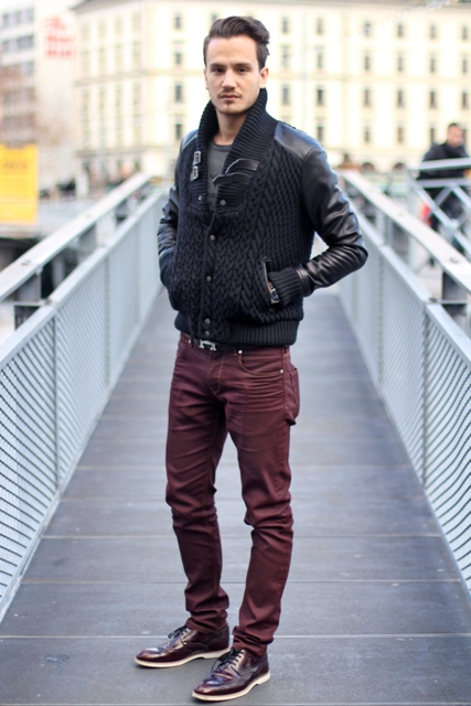 With gray shirt, marsala pants and marsala shoes