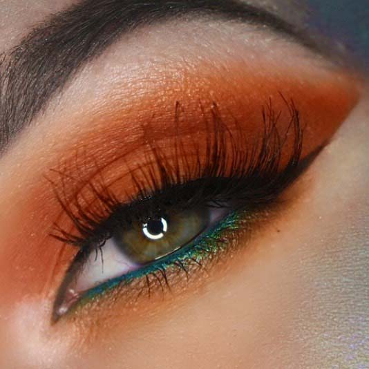 Autumnal Orange Eye Makeup for Makeup Ideas for Thanksgiving Dinner