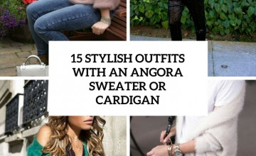 stylish outfits with an angora sweater or cardigan cover