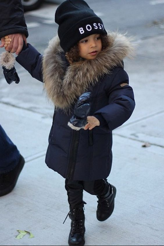 a navy kid's parka with faux fur is a cool idea to feel warm and look stylish