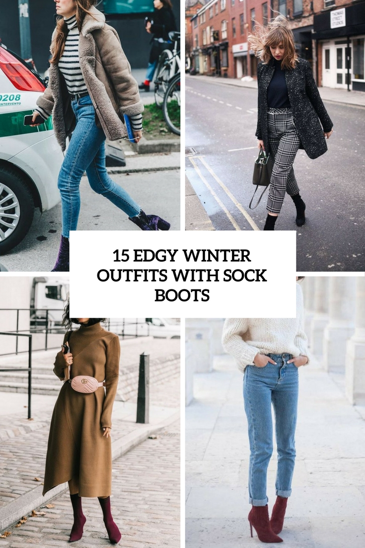 edgy winter looks with sock boots cover
