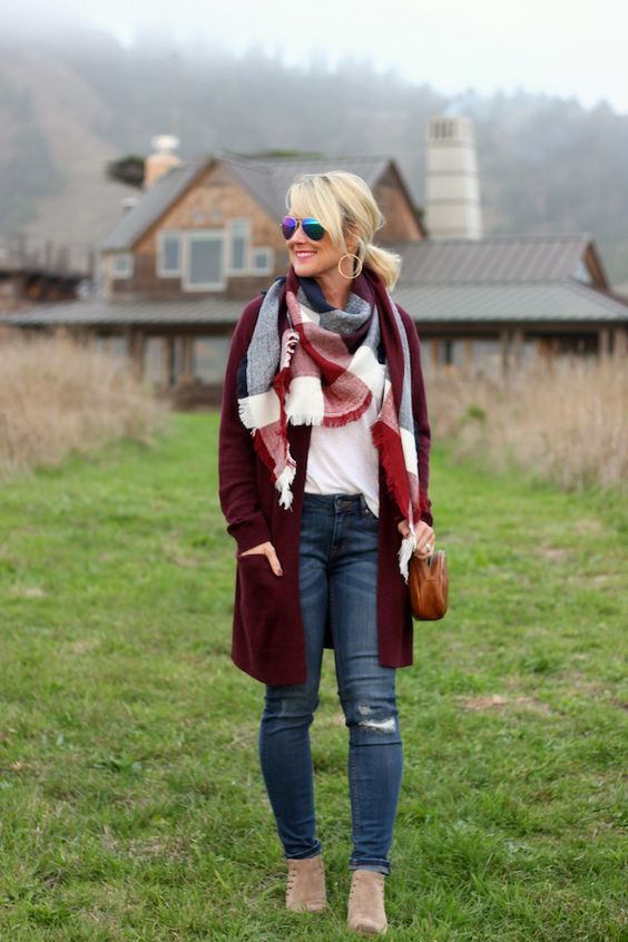 ripped jeans, a white top with long sleeves, a burgundy long cardigan and neutral booties