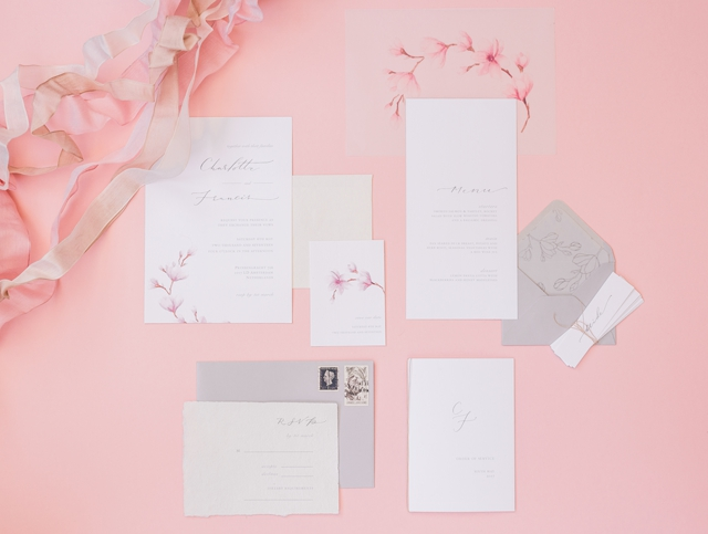 Grey and pink wedding invitations