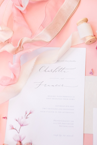 Pink and ivory wedding invitations