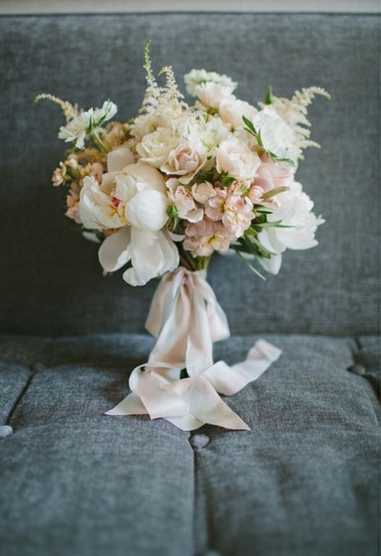 blush ribbon for a soft pastel bouquet and a romantic bride