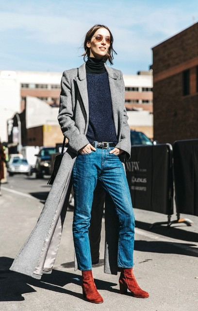 With turtleneck, maxi coat and suede boots