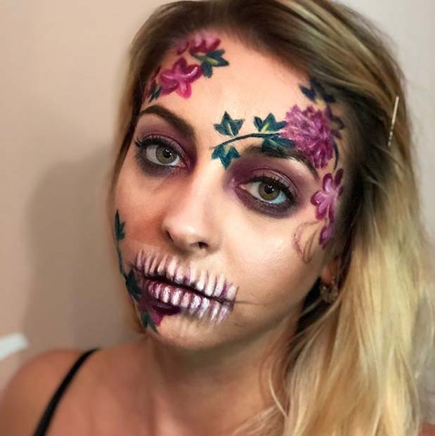 Floral Skeleton Design for Skeleton Makeup Ideas for Halloween