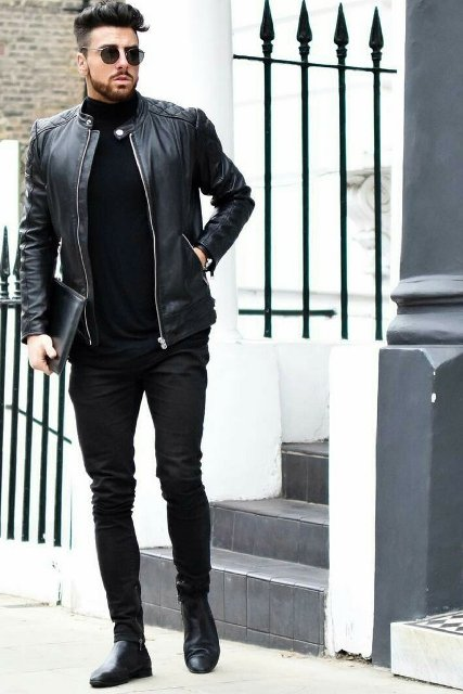 Black turtleneck, leather jacket, clutch, skinny pants and shoes