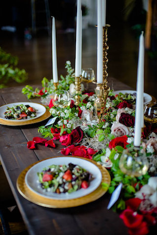 Red, gold, and green tablescape