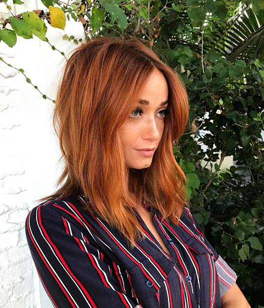 Copper Red for Lob Hairstyles for Fall and Winter
