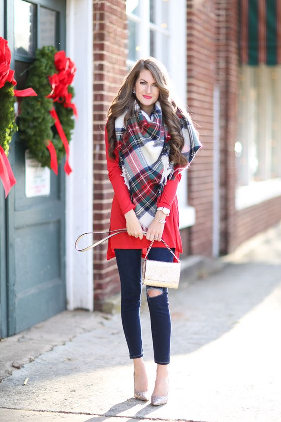 ripped navy skinnies, a red tunic, a plaid scarf and sparkly heels