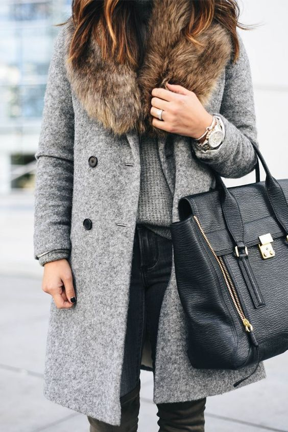 a grey coat with a faux fur stole looks chic and is comfy for winter