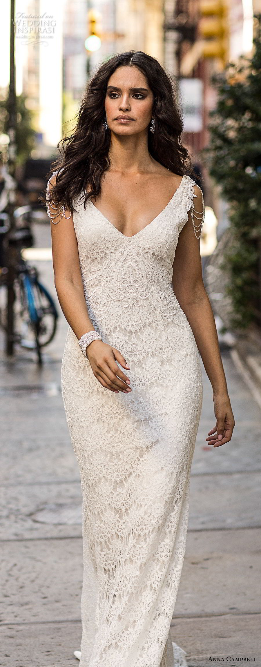 anna cambell fall 2018 bridal sleeveless v neck full embellishment elegant romantic fit and flare sheath wedding dress open v back sweep train (6) mv