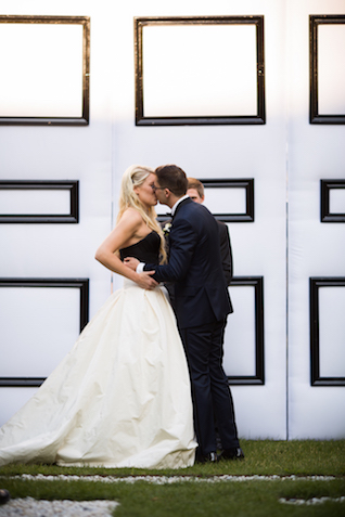 Black and white wedding modern wedding ceremony backdrop