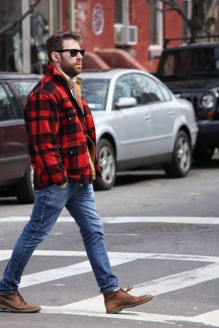 With plaid jacket and jeans