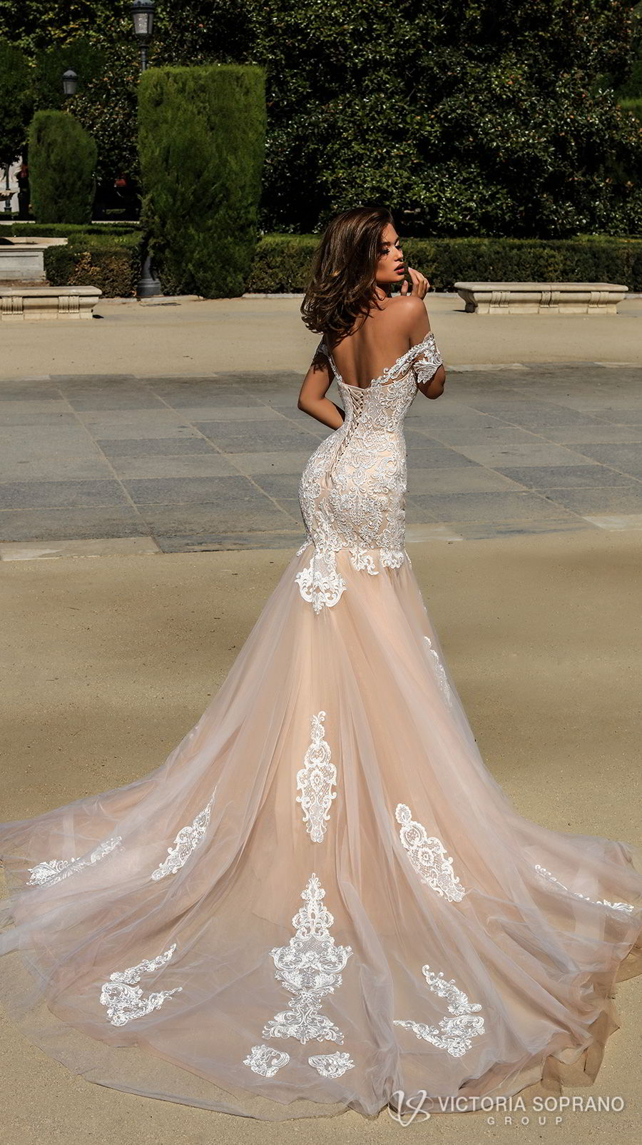 victoria soprano 2018 bridal short sleeves illusion bateau semi sweetheart neckline heavily embellished bodice elegant blush color mermaid wedding dress open back chapel train (brenda) bv