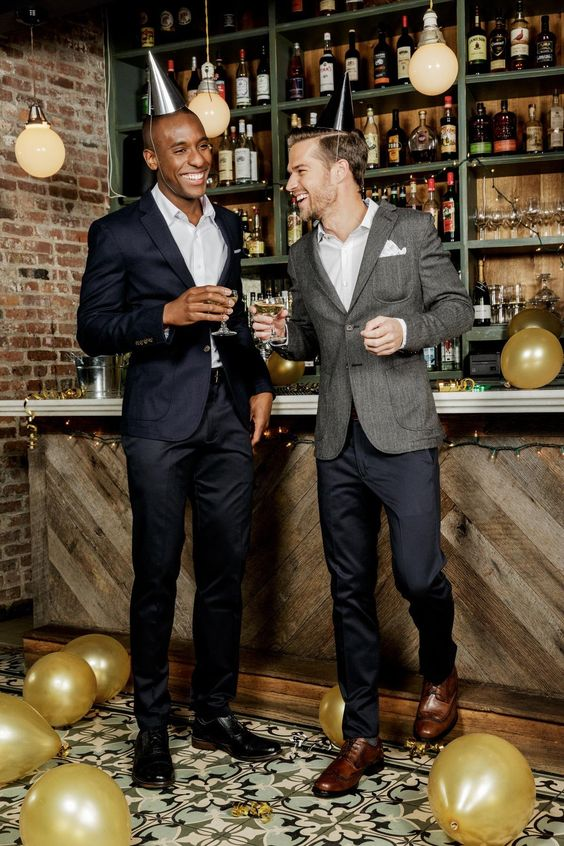pants, blazers and contrasting shoes for a more or less formal party at New Year