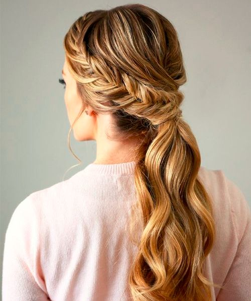 a braided low ponytail with some bangs is great as a casual hairstyle