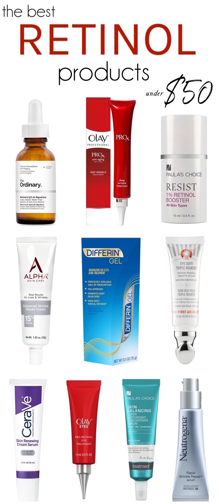 The Best Retinol Serums and Creams under $  50 | These affordable yet hard-working heroes treat dark spots, wrinkles, acne, sun damage and large pores while being gentle on your skin!