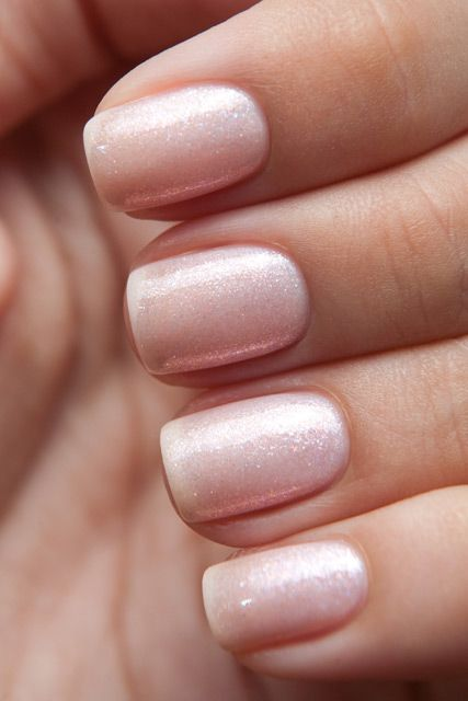 chic shimmer nude nails look girlish and fit many occasions