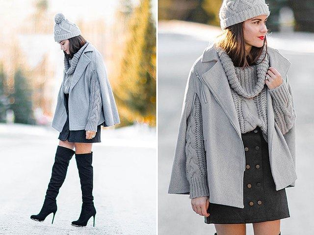 With gray sweater, mini skirt, black over the knee boots and beanie