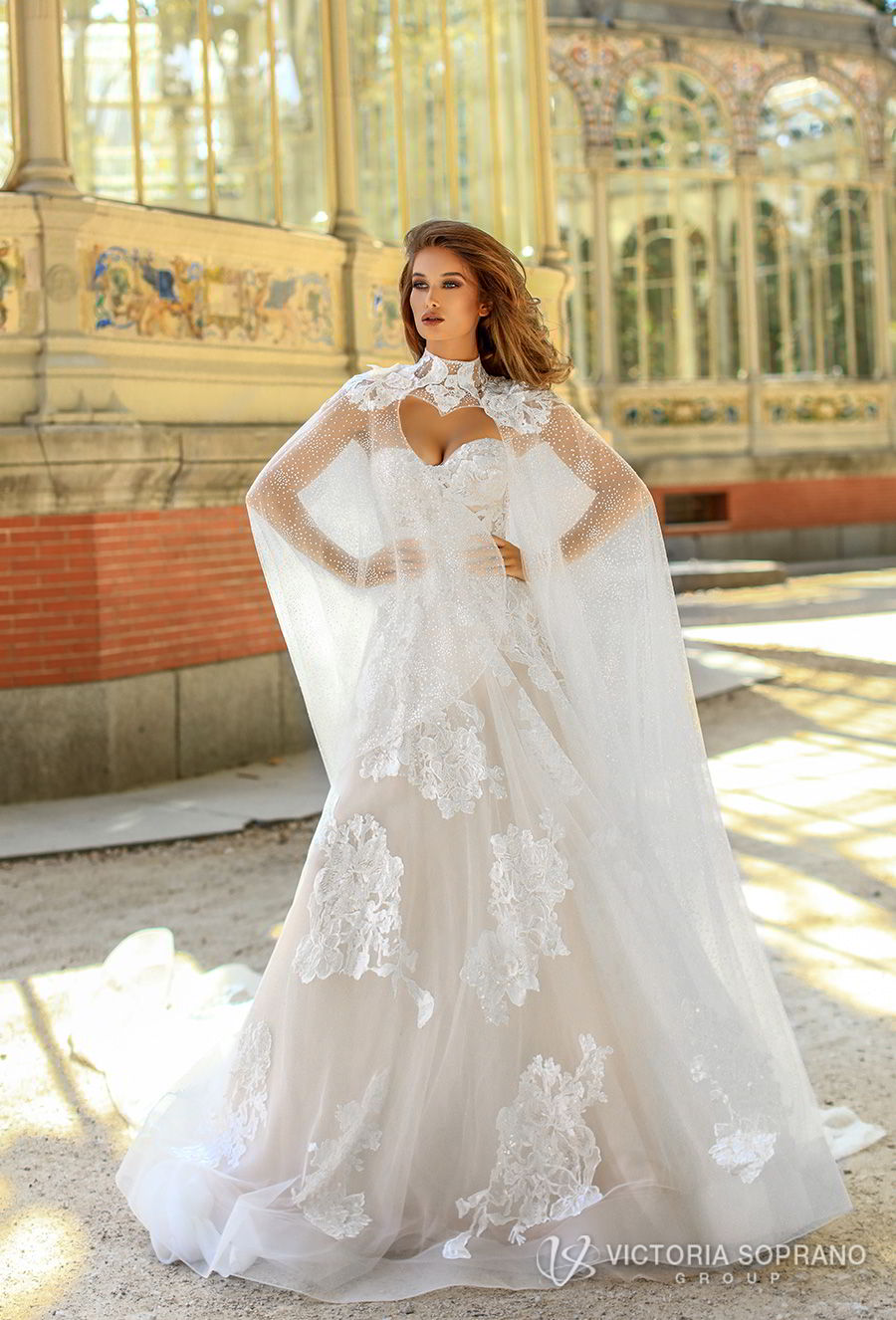 victoria soprano 2018 bridal strapless sweetheart neckline full embellishment romantic a line wedding dress chapel train (hanna) mv