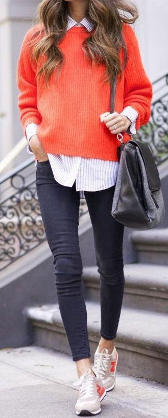 street-style-orange-pullover-knit-1-e1463652370701 Top 70 Fall Outfits for Teen Girls to Copy This Year