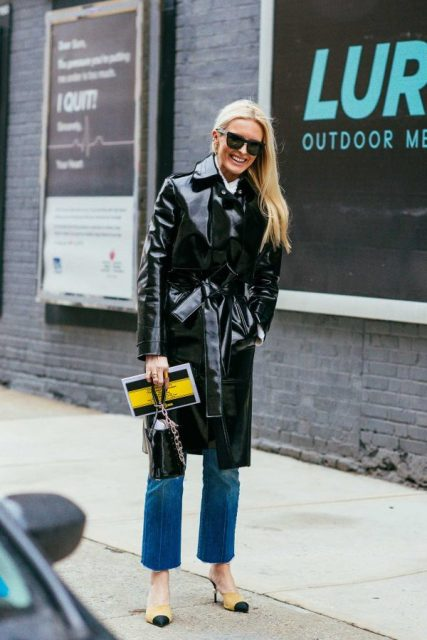 With crop jeans, two color shoes and mini bag