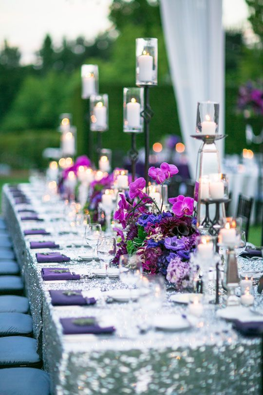 ultra violet napkins and bold violet, burgundy and purple wedding centerpieces for a trendy look