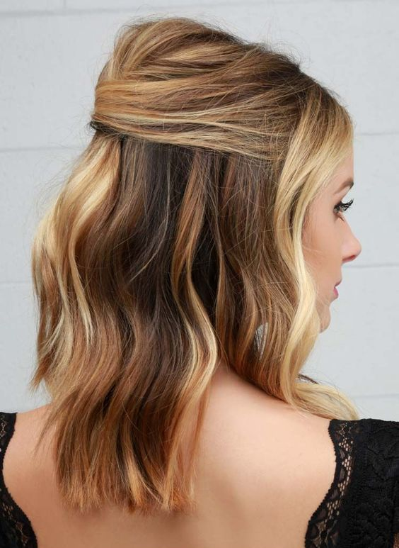 a wavy half up lob is a chic idea not only for a party but also for a date