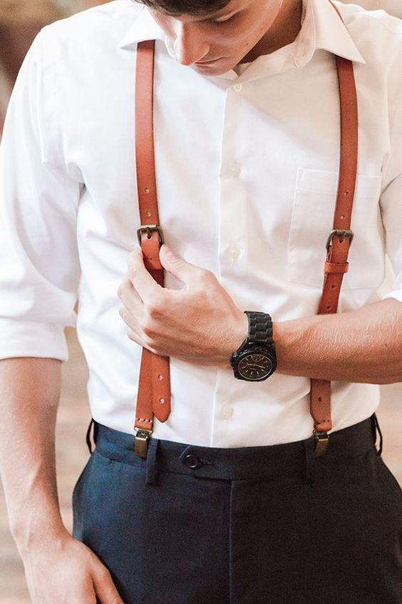 brown leather suspenders for a vintage groom's look