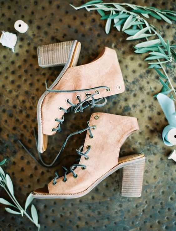 tanned leather peep toe booties with lacing up for a boho bride