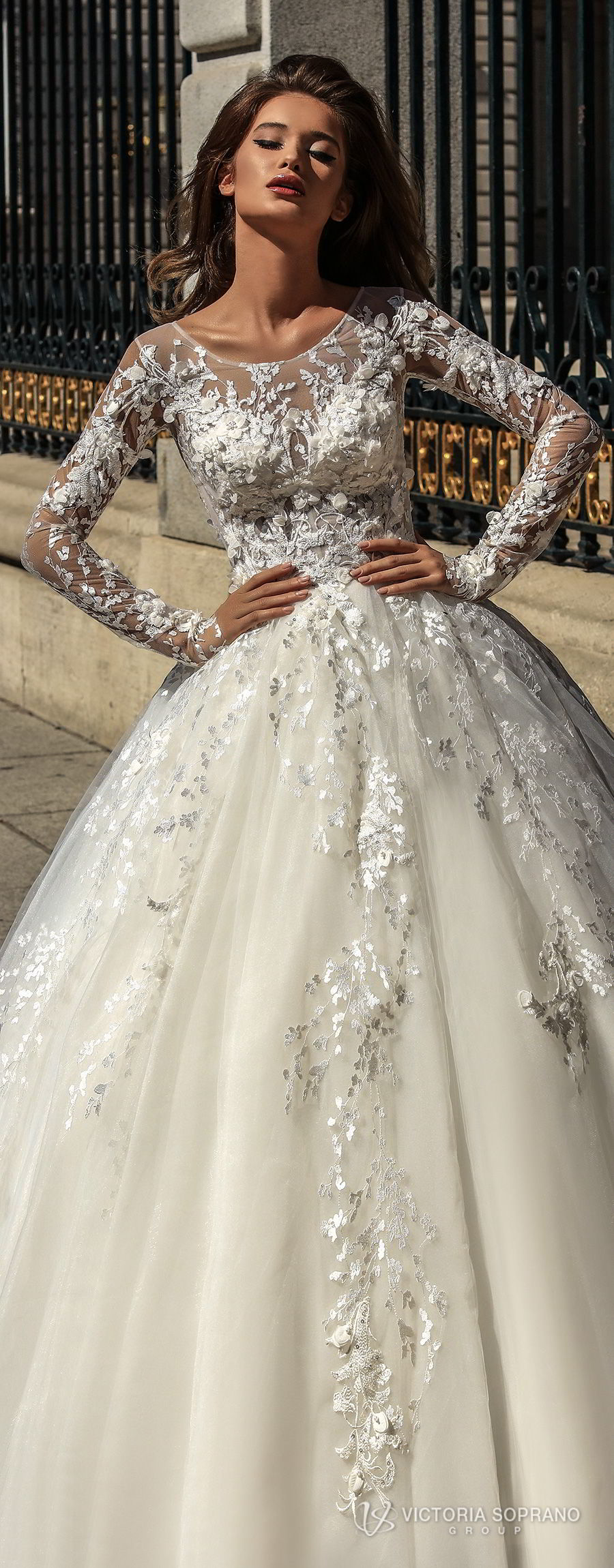 victoria soprano 2018 bridal long sleeves illusion jewel sweetheart neckline heavily embellished bodice princess ball gown a line wedding dress sheer lace back chapel train (felicity) lv