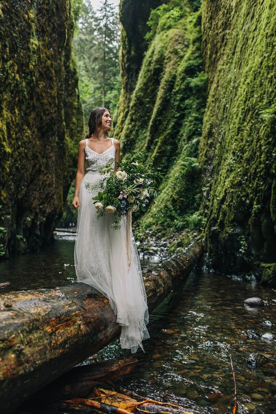 a boho lace A-line wedding dress with straps, a flowy skirt is very comfy for eloping to the woods