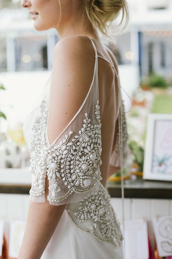 a beaded embroidered cold shoulder sleeve looks feminine and stunning