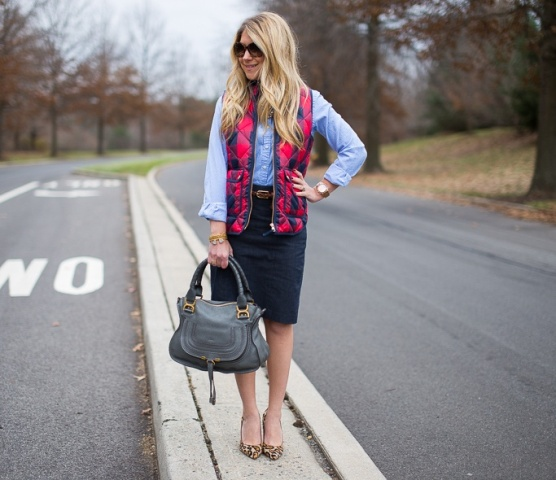 With light blue button down shirt, pencil skirt and leopard pumps