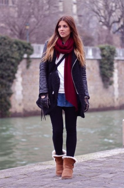 With white shirt, denim mini skirt, marsala scarf, black jacket and black tights