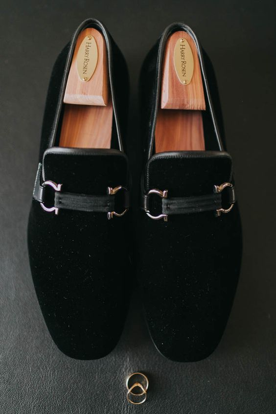 black velvet groom shoes with pretty detailing