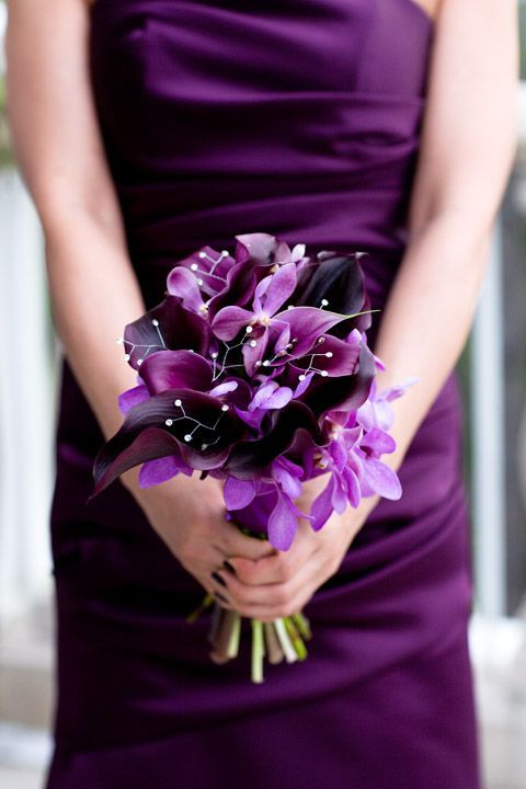 violet and dark purple wedding bouquet with beads that sparkles