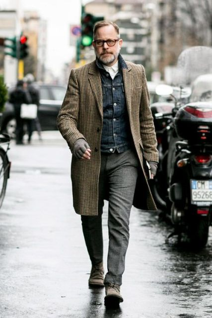 With denim jacket, checked coat and tweed trousers
