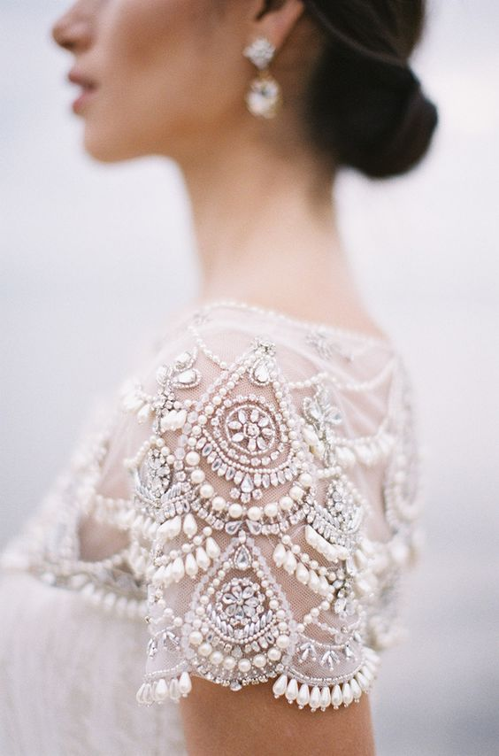 a beaded and pearled embroidered sleeve will make any dress more special