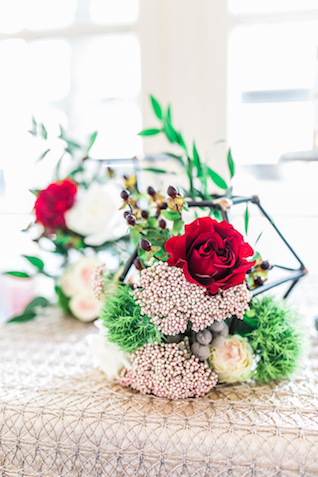Geometric centerpieces with flowers